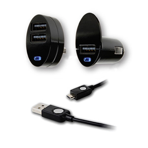Qmadix USB Mobile Duo Micro Charging Kit  - Charge 2 Devices Simultaneously