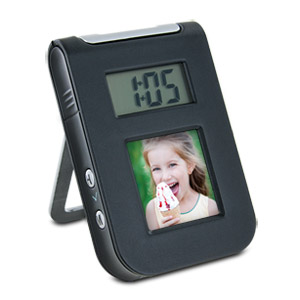 "Gear Head 1.5"" Digital Photo Frame Travel Alarm Clock"