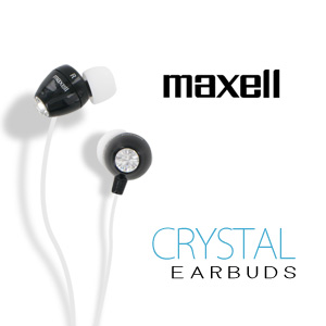 Maxell 190336 Crystal Ear Buds (Black)
