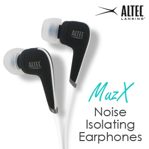 Altec Lansing MZX106W MuzX Noise-Isolating Earphones (White and Black)