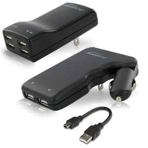 PowerLine Four Port USB Power AC Adapter, for MP3, iPod, iPhone & iPad + AC/DC Dual Port USB Power Adapter