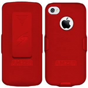 Amzer Shellster Carrying Case (Holster) for iPhone - Red - Impact Resistance - Plastic