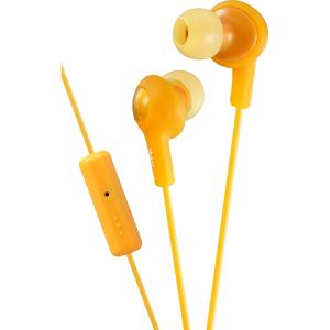 JVC Gumy Plus Inner Ear Headphones With Remote & Mic - Stereo - Orange - Wired - 16 Ohm - 10 Hz - 20 kHz - Gold Plated - Earbud - Binaural - Open - 3.28 ft Cable