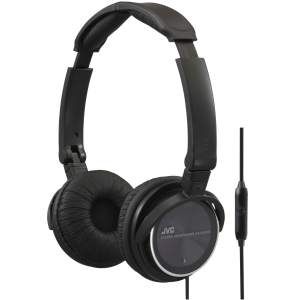 JVC HASR500B On-ear Headband Headphones with Remote & Microphone [Black] - Stereo - Black - Wired - Gold Plated - Over-the-head - Binaural - 3.94 ft Cable