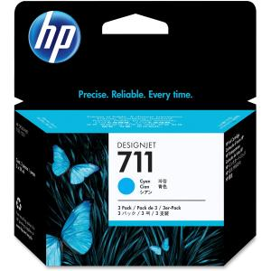 HP 711 Tri-pack Ink Cartridge - Cyan - Inkjet - 3 / Pack