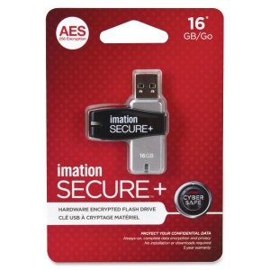 Imation Secure 16 GB USB 2.0 Flash Drive - Black, Silver