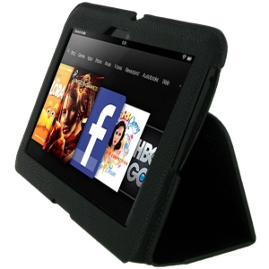 rooCASE Ultra-Slim Vegan Leather Case Cover for Amazon Kindle Fire HD 7 - Black - Vegan Leather