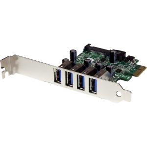 StarTech.com 4 Port PCI Express PCIe SuperSpeed USB 3.0 Controller Card Adapter with SATA Power - Low Profile - 4 x 9-pin Type A Female USB 3.0 USB External, 1 x 15-pin SATA Power Internal - Plug-in Card