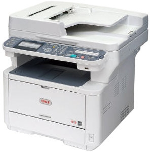 Oki MB491+ LED Multifunction Printer - Monochrome - Plain Paper Print - Desktop - Printer, Scanner, Copier, Fax - 47 ppm Mono Print - 1200 x 1200 dpi Print - 38 cpm Mono Copy LCD - 600 dpi Optical Scan - Automatic Duplex Print - 350 sheets Input - Fast Et