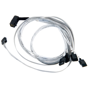Image of Adaptec 0.8M Internal Right-Angle Mini SAS HDx4 to 4x1 Serial ATA Fan-Out Cable