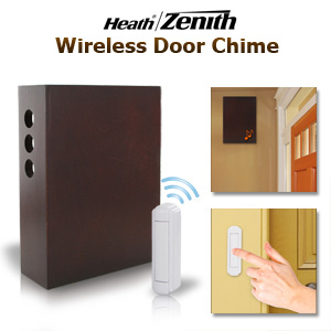 Heath/Zenith SL-6300-CH Wireless Battery-Operated Door Chime Kit with Wood Cover