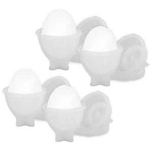 Image of Eggies Deluxe Plastic Egg Cooker Set - Never Peel a Hard-Boiled Egg Again!