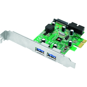 SIIG DP 4-Port USB 3.0 PCIe with 20pin Header - 2 x 9-pin Type A Female USB 3.0 USB External, 1 x 20-pin USB 3.0 USB Header, 1 x 15-pin SATA Power Internal - Internal - Retail