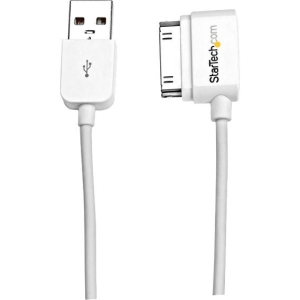 StarTech.com 2m (6 ft) USB Left Angle Cable for iPhone / iPod / iPad with Stepped Connector - USB/Proprietary for iPod, iPhone, iPad - 2m - 1 Pack - 1 x Type A Male USB - 1 x Male Proprietary Connector - Nickel-plated Connectors - White