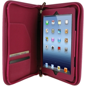 rOOCASE Executive Carrying Case (Portfolio) for iPad mini - Magenta - Leather