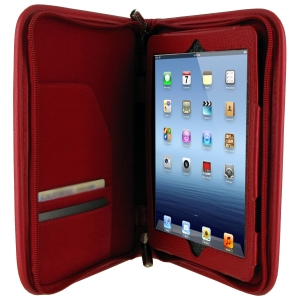 rOOCASE Executive Carrying Case (Portfolio) for iPad mini - Red - Leather