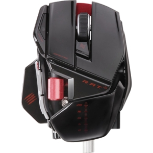 Mad Catz R.A.T. 9 Wireless Gaming Mouse for PC and Mac - Gloss Black - Laser - Wireless - Radio Frequency - Glossy Black - USB 2.0 - 6400 dpi - Scroll Wheel - 7 Button(s)