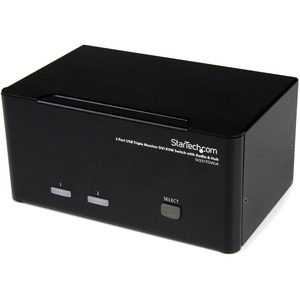 StarTech.com 2 Port Triple Monitor DVI USB KVM Switch with Audio &amp; USB 2.0 Hub - 2 Port - Rack-mountable