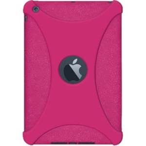Amzer Silicone Skin Jelly Case - Hot Pink for Apple iPad mini - iPad - Hot Pink - Textured - Silicone