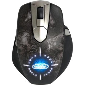 SteelSeries World of Warcraft Wireless MMO Gaming Mouse - Laser - Cable/Wireless - Radio Frequency - Black, Silver - USB - 8200 dpi - Scroll Wheel - 11 Button(s) - Warcraft Logo