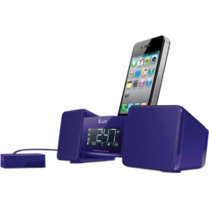 VIBRO II DUAL ALARM CLOCK BLUE W/BED SHAKER FOR IPHONE IPOD