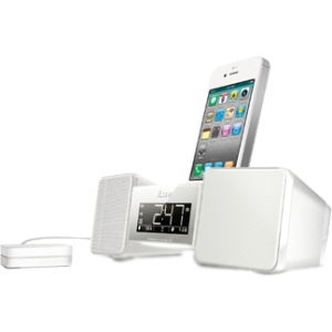 VIBRO II DUAL ALARM CLOCK WHITE W/BED SHAKER FOR IPHONE IPOD