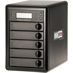 MicroNet RAIDBank5 RB5-20000 DAS Array - 5 x HDD Installed - 20 TB Installed HDD Capacity - RAID Supported - 5 x Total Bays - USB 3.0, eSATA, FireWire/i.LINK 400, FireWire/i.LINK 800 Tower