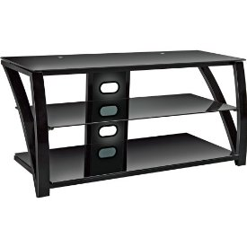 Bell'O TV Stand - Up to 46&quot; Screen Support - 100.00 lb Load Capacity - 3 x Shelf(ves) - 19.8&quot; Height x 42.0&quot; Width x 17.8&quot; Depth - Gloss, Powder Coated - Metal, Tempered Glass - Black