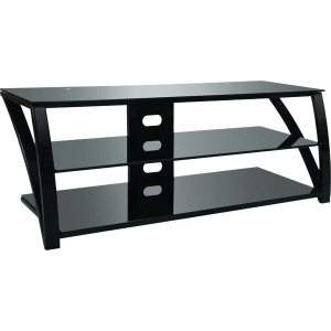 Bell'O TV Stand - Up to 55&quot; Screen Support - 125.00 lb Load Capacity - 3 x Shelf(ves) - 19.8&quot; Height x 52.0&quot; Width x 17.8&quot; Depth - Gloss, Powder Coated - Metal, Tempered Glass - Black