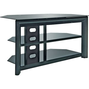 "Bell'O TV Stand - Up to 46"" Screen Support - 100.00 lb Load Capacity - 3 x Shelf(ves) - 21.8"" Height x 42.0"" Width x 19.8"" Depth - Gloss, Powder Coated - Metal, Tempered Glass - Black"