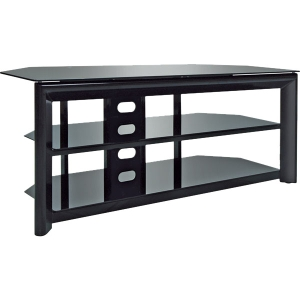Bell'O TV Stand - Up to 55&quot; Screen Support - 125.00 lb Load Capacity - 3 x Shelf(ves) - 21.8&quot; Height x 52.0&quot; Width x 19.8&quot; Depth - Gloss, Powder Coated - Metal, Tempered Glass - Black