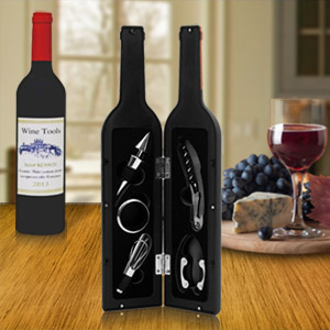 Deluxe Wine Bottle Git Set - Bottle Opener, Stopper, Drip Ring, Foil Cutter and Wine Pourer