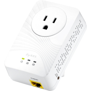 Zyxel 500 Mbps Mini Powerline Pass-Thru Ethernet Adapter - 1 x Network (RJ-45) - 62.50 MBps Powerline - 984.25 ft Distance Supported - HomePlug AV - Fast Ethernet