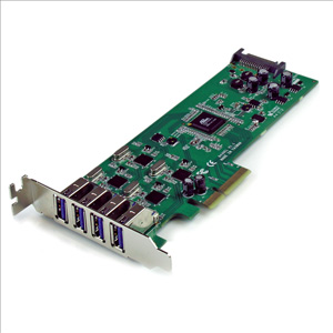 StarTech.com 4 Independent Port PCI Express SuperSpeed USB 3.0 Controller Card Adapter with SATA Power - Low Profile - 4 x 9-pin Type A Female USB 3.0 USB External, 1 x 15-pin SATA Power Internal - Plug-in Card