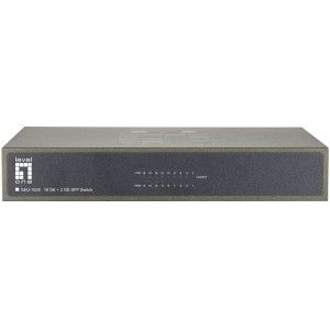 LevelOne GEU-1628 16-Port Gigabit w/2 SFP Gig Ports Desktop Switch - 16 Ports - 16 x RJ-45 - Stack Port - 2 x Expansion Slots - 10/100/1000Base-T