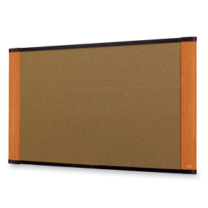 "3M Wide-screen Style Bulletin Board - 24"" x 36"" - Cork Surface - Wood Frame"