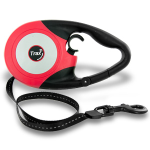 Trax Ergo 16Ft Retractable Large Dog Leash - Red/Black