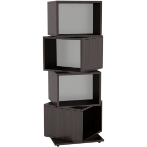 Image of Atlantic 4-Tier Rotating Cube Multimedia Storage Tower - Espresso