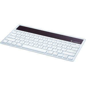 Logitech Wireless Solar Keyboard K760 for Mac, iPad and iPhone - Wireless - Bluetooth - White - Computer, Tablet, Cellular Phone - Brightness, Eject Hot Key(s)
