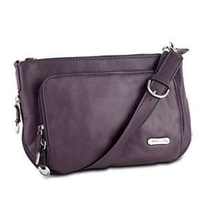Travelon Leather East/West Expandable Shoulder Bag (Eggplant)