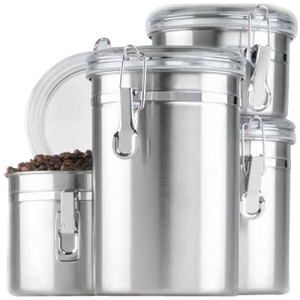 Image of Anchor 4 Pc. Stainless Steel Clamp Canister Set w/Clear Lid