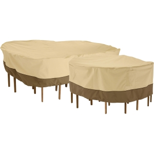 Classic Accessories Veranda Large Round Patio Table & Chair Set Cover, Tan\/Brown