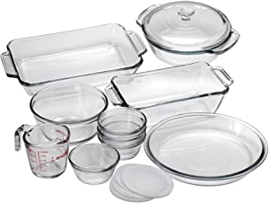 "Image of Anchor 15 Pc. Bake Set - 2 quart Baking Dish, 1.5 quart Casserole, 1.5 quart Loaf Pan, 1 quart Mixing Bowl, 9"" Diameter Pie Pan, 8 fl oz Measuring Cup, 6 fl oz"