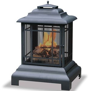 UniFlame Black Firehouse Firepit With Protective Cover