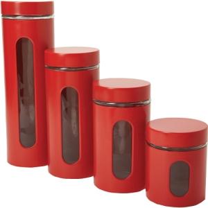 Image of Anchor Hocking 4-Piece Palladian Cherry Window Cylinder Set