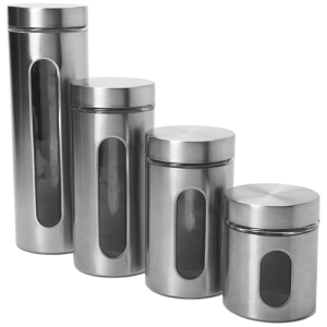 Image of Anchor 4 Pc. Palladian Brushed Stainless Steel Cylinder Set w/ See-Thru Window