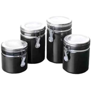 Image of Anchor Ceramic Canister Set - Food Canister, Lid - Ceramic, Chrome Lid