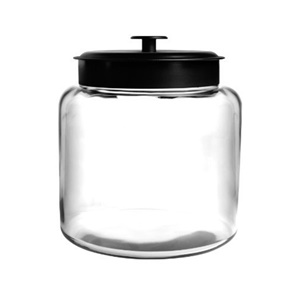 Image of 1.5 gallon Montana Jar with Black Metal Cover. Clear 88904