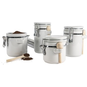Image of Anchor Ceramic Canister Set - Food Canister, Spoon - Ceramic, Wood Spoon