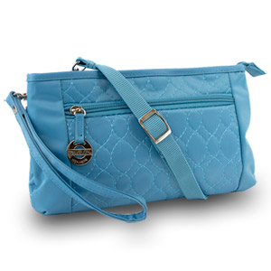 Travelon Convertible Quilted Crossbody Wristlet & Waist Pouch (Teal)